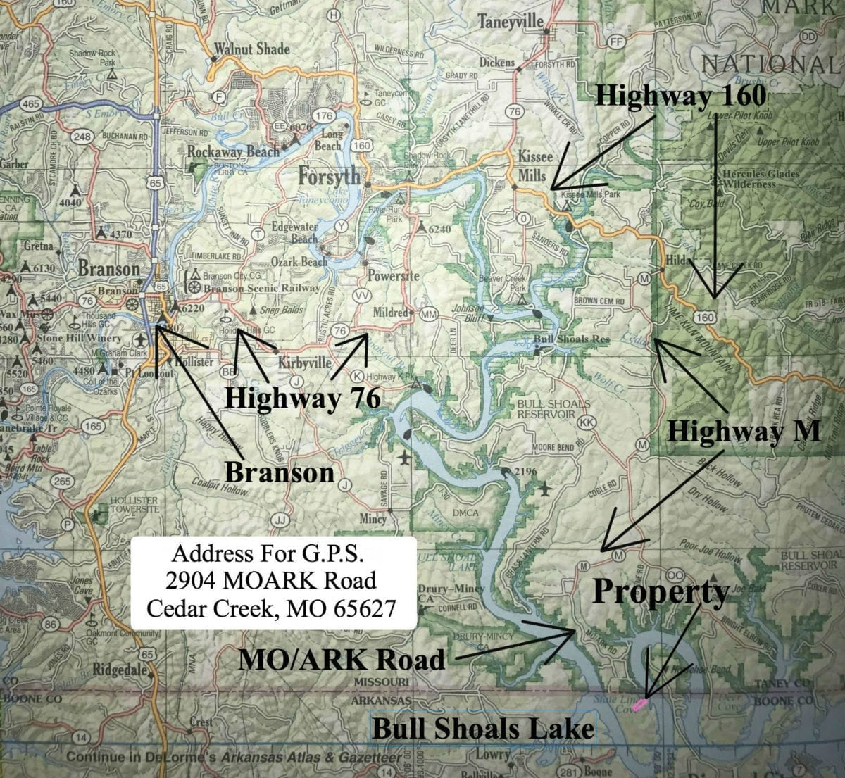 Road map to the property from Branson, MO.