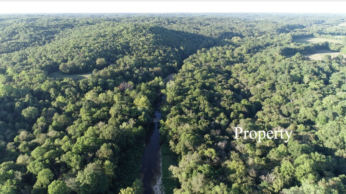 Aerial looking north over the property.