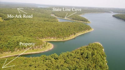 Aerial photo looking toward the lake. Bull Shoals is an awesome lake for fishing, tubing, boating, and even scuba diving.
