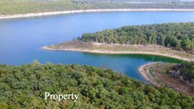 Aerial looking east at the cove and the main channel of Bull Shoals Lake.