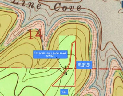 Topo map. The property is the highest at its southwest side and it slopes down gently as you go to the north and east.