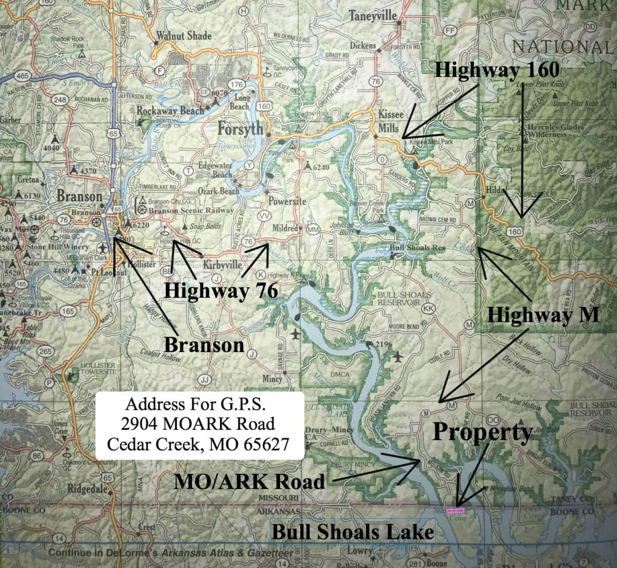 This helpful road map shows the route to the property from Branson, Missouri. Enter the address on this map into your G.P.S. and it should take you to the end of the paved road (Moark Road).