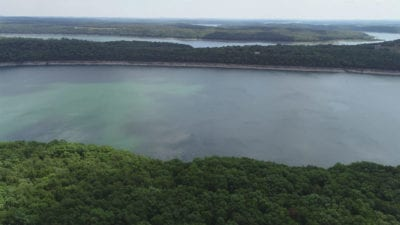 Aerial facing east looking toward the main channel of Bull Shoals Lake.