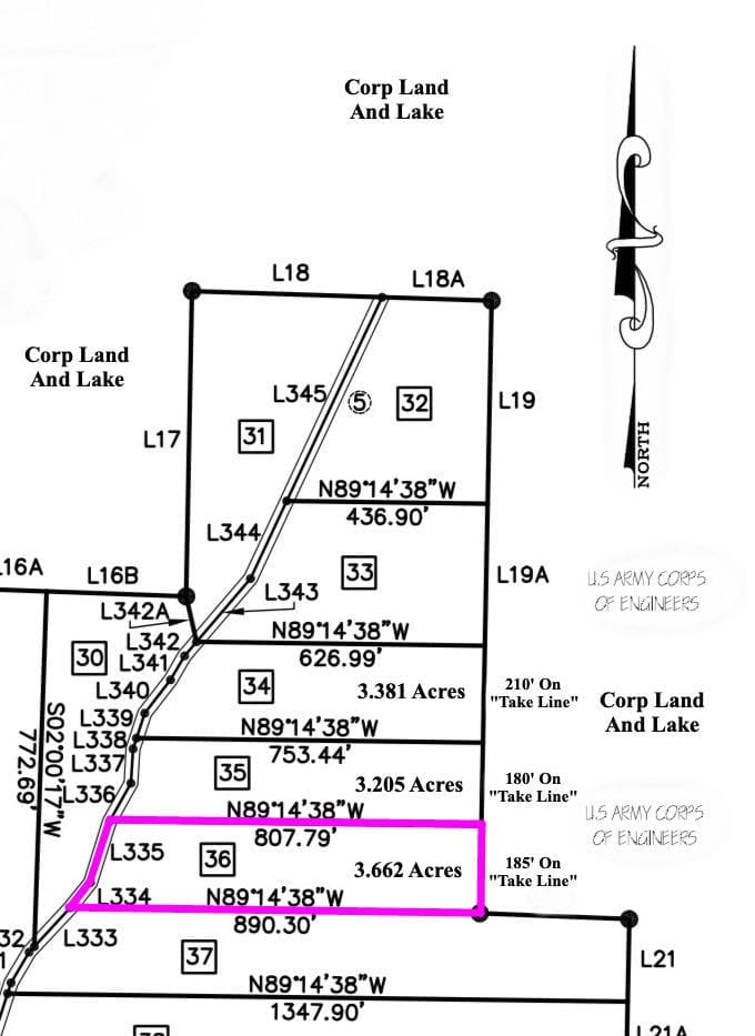 Survey map showing the property which is 3.662 acres in size and borders the Corp Of Engineers Land for 185 feet along its entire east side.