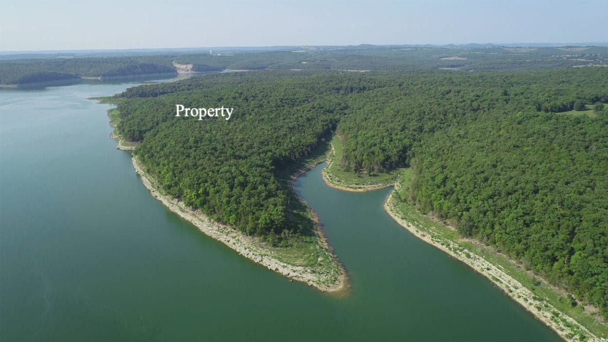 Aerial photo looking south at the Walleye Shores section of Timber Shoals Ranch.