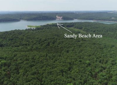 Aerial looking westerly across the peninsula and toward Tucker Hollow Marina.