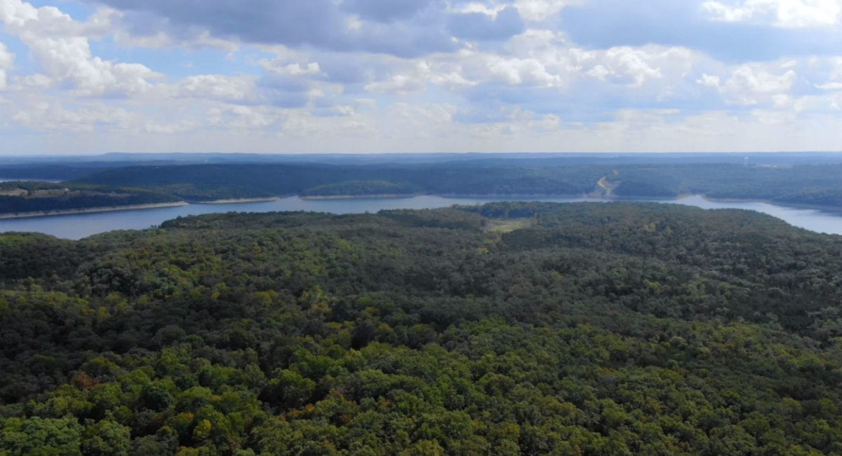 Aerial looking south toward the south end of the peninsula which is where you will find the Sandy Beach Area.