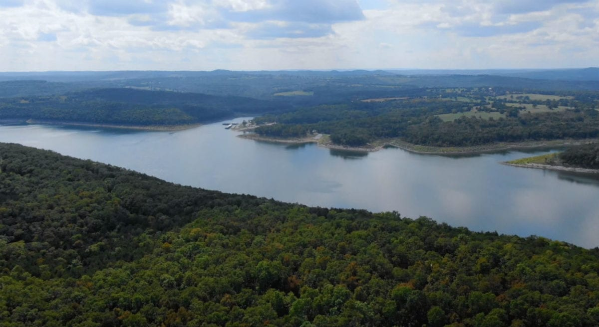 Aerial looking southwest toward Tucker Hollow Marina which is across the lake.
