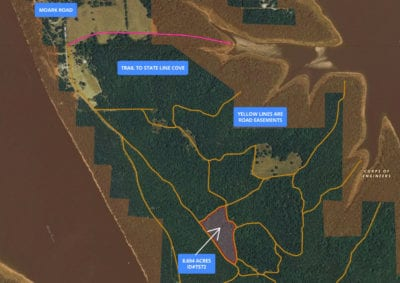 Aerial map showing the property as well as a small portion of the nearby Corp Land and the lake.