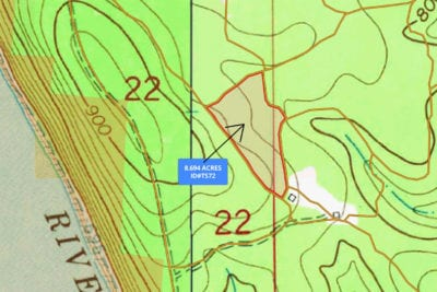 Topo map showing this very usable tract. Highest on the west side and slopes down very gradually as you move to the east.