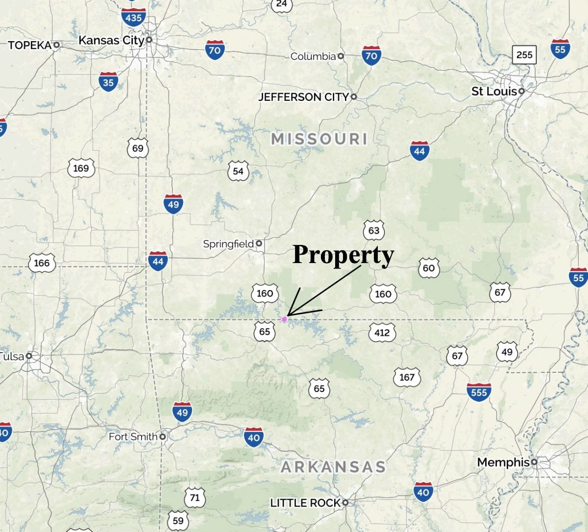 Excellent centralized location. Only a half-day's drive to numerous large cities including St. Louis, Kansas City, Tulsa, Little Rock and Memphis.