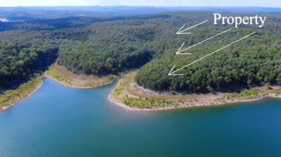 Aerial looking westerly at the property
