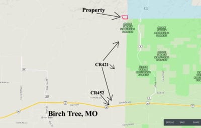 This map shows the route to the property from Highway 60.
