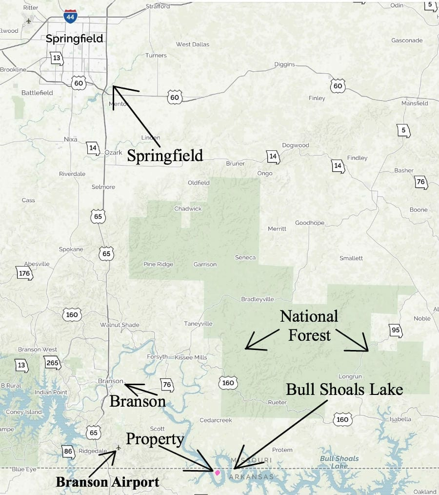 Short drive to Branson, Missouri and Springfield, Missouri.