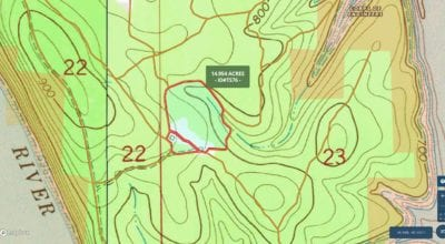 Topo map showing the property. It is the highest on the west side and slopes down very gently as you move to the east