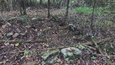 Part of a very old foundation for a cabin