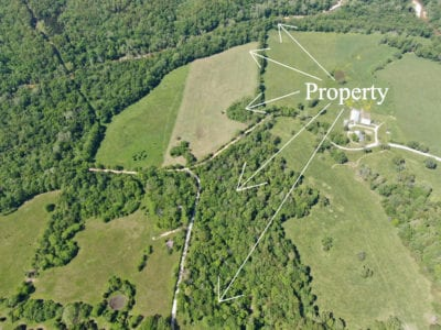 Aerial facing northerly over the property