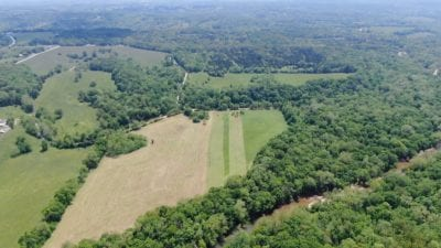 Aerial facing south over the property