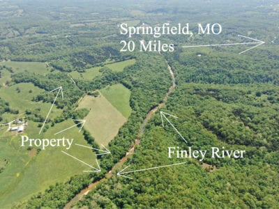 Aerial looking southwesterly at the property