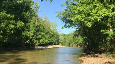 Looking upriver while standing on the property which has over 300 feet of river frontage