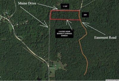 This map shows the property as well as several nearby roads.