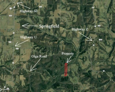 Area map showing the route to the property from Highway 60