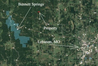 Perfect location between Bennett Springs and the town of Lebanon, Missouri.