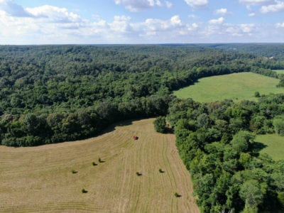 Aerial facing north over the property.