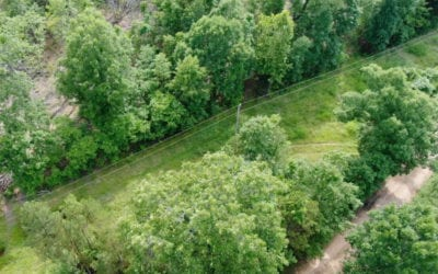 Aerial looking down on the east side of the property.