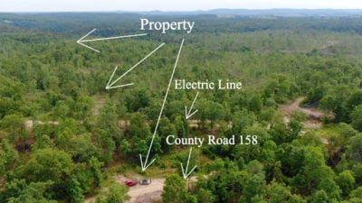 Aerial looking southwest over the property.