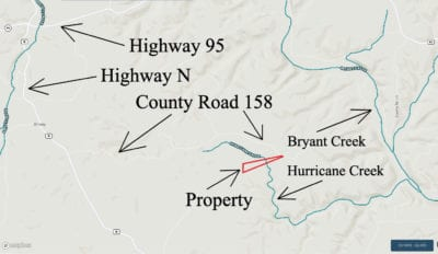 Map showing the last several miles of the drive to the property