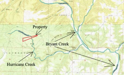 Topo map showing the property as well as Hurricane Creek and Bryant Creek