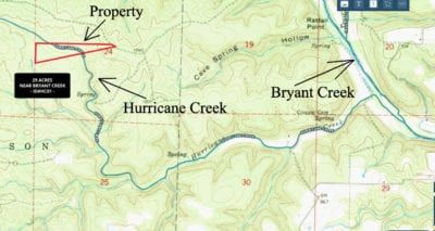 Topo map showing the property as well as Hurricane Creek and Bryant Creek.
