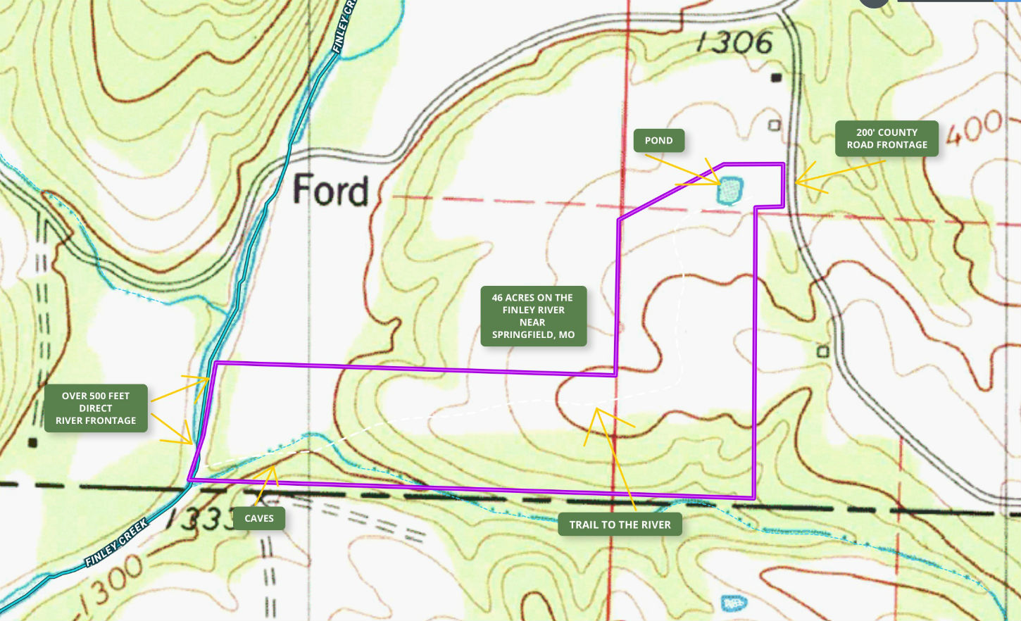 46 acres ON RIVER w/ caves by Springfield, Missouri – ID ...