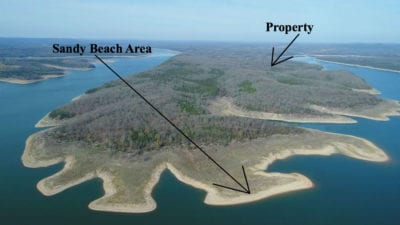 Aerial photo showing the beaches on peninsula.