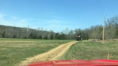 Easement road in lower field.