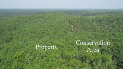 Aerial facing north along the east side of the property.